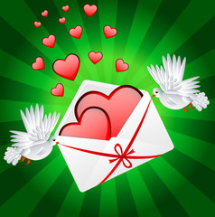 Two white a pigeon is carried envelope with hearts