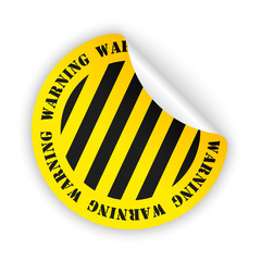 vector warning bent sticker