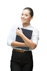 businesswoman holding book