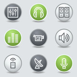 Media web icons, circle buttons