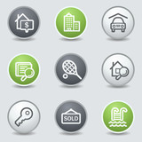 Real estate web icons, circle buttons