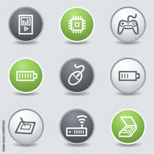 Electronics web icons set 2, circle buttons