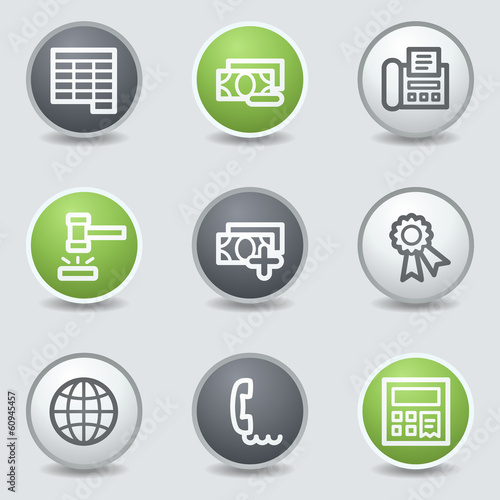 Finance web icons set 2, circle buttons