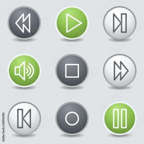 Media player web icons, circle buttons