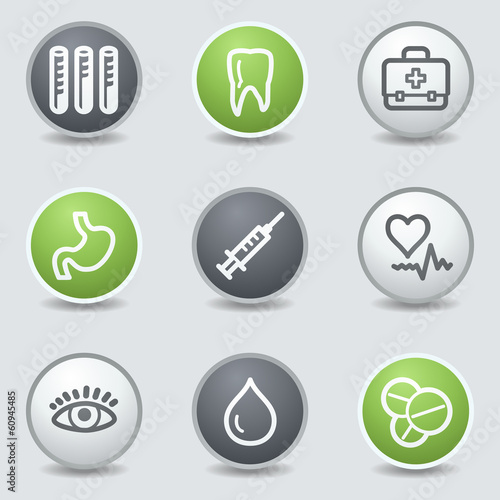Medicine web icons set 1, circle buttons