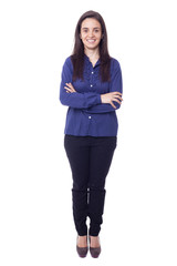 Full body portrait of happy young business woman, isolated over