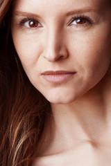 Detail visage jeune femme mode
