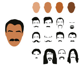 Moustaches styles, vector