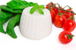 Fresh ricotta with basil and cherry tomatoes on white background
