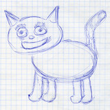 Cat. Children's drawing in a school notebook