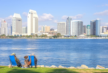 Couple enjoying San Diego cityscape