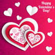 Vector Valentine's day lacy paper heart greeting card