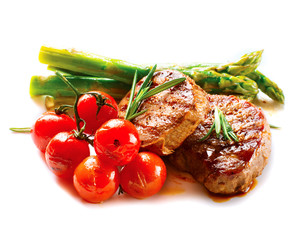 BBQ Steak. Barbecue Grilled Beef Steak Meat with Vegetables