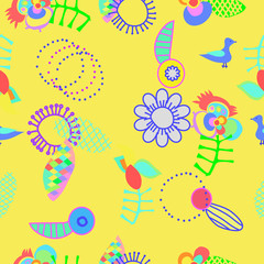 Composition of stylized flowers, leaves and birds. Pattern