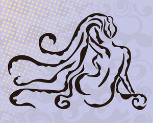 Woman silhouette on grey abstract background