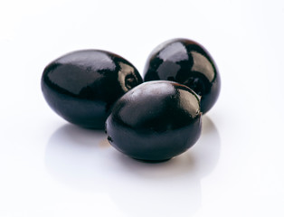 Black olives isolated on white