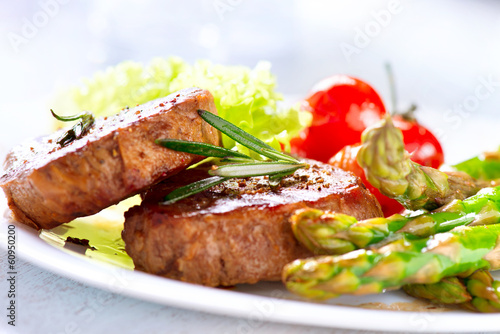 Grilled Beef Steak Meat with Asparagus and Cherry Tomato