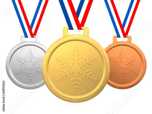 Keuken foto achterwand Wintersporten Winter games medals 3d render