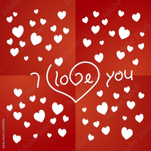 Love you red background vector