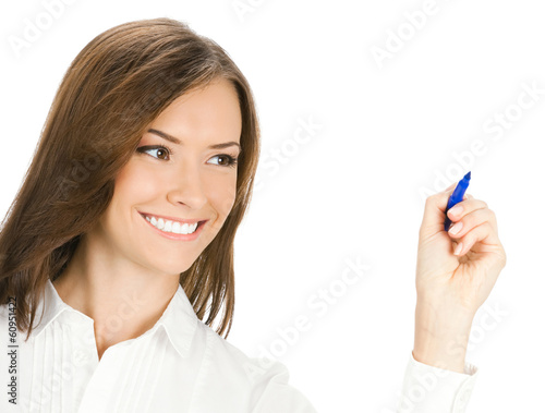 Business woman writing or drawing, isolated