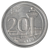 20 singaporean cents coin