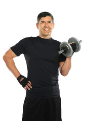 Hispanic Man Curling Dumbbell