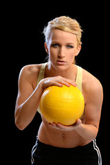 Woman Holding Volleyball
