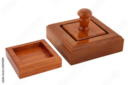 Wooden stamp isolated on white
