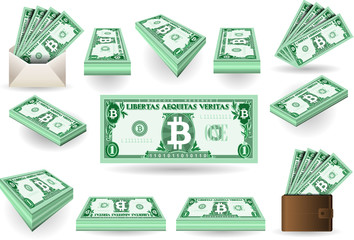Set of One Bitcoins Banknotes