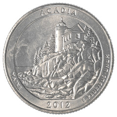 American one quarter coin - acadia national park