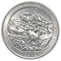 American one quarter coin - denali national park