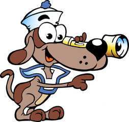 Hand-drawn Vector illustration of an Happy Sailor Watch Dog