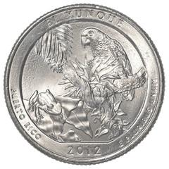 American one quarter coin - el yunque national park