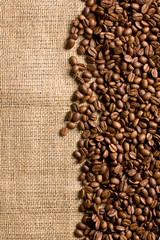 coffee beans on sackcloth
