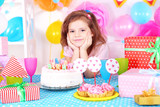 Pretty little girl celebrate her birthday