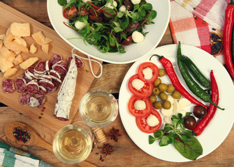 wine and salad