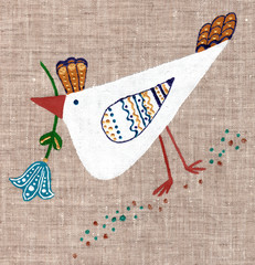 chicken painted on linen background