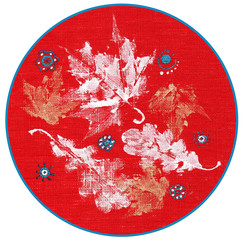 decorative leaves painted on fabric
