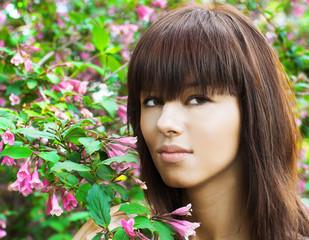 Girl ang flowers