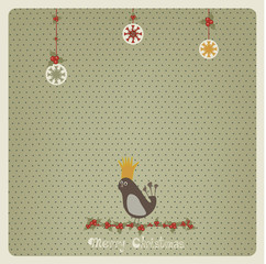 Christmas card with a bird on a mistletoe branch