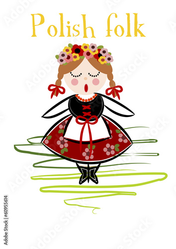 Traditional Polish Costume (Cracovie) - Vector. © Doin Oakenhelm