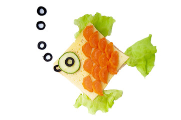 Fish sandwich for child - isolated on white background.