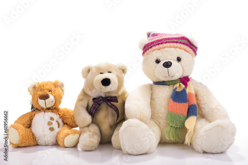 Three toy teddy bears