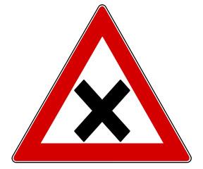 Verkehrszeichen Kreuzung isoliert