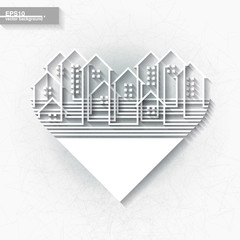 White infographic template with abstract city heart shape. Eps10