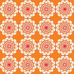 Spirographic orange seamless background