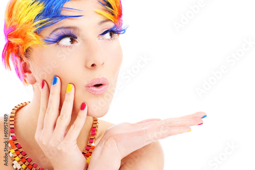 Woman face and color hairs