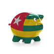 Piggy bank with flag coating over it - Togo
