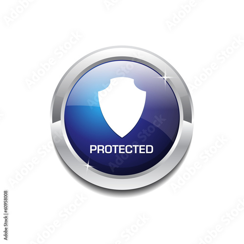Protected Circular Vector Button Icon