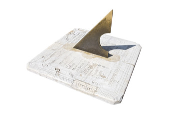 old sundial isolated over white